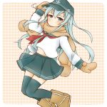 1girl black_headwear black_legwear black_sailor_collar black_skirt blue_eyes blush brown_scarf cocoperino flat_cap hair_between_eyes hat hibiki_(kantai_collection) kantai_collection long_hair long_sleeves mittens neckerchief pleated_skirt red_neckwear sailor_collar scarf school_uniform serafuku silver_hair skirt solo thigh-highs