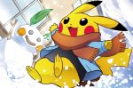 :d ariga_hitoshi blue_sky brown_scarf clothed_pokemon clouds cloudy_sky creature day full_body gen_1_pokemon happy jumping long_sleeves no_humans official_art open_mouth outdoors pikachu pokemon pokemon_(creature) pokemon_trading_card_game scarf sky smile snow snow_sculpture solo winter_clothes