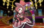 1girl battle_chatelaine_(pokemon) feet_out_of_frame indoors lajournee_(pokemon) looking_at_viewer mizutani_megumi official_art pokemon pokemon_trading_card_game red_theme solo stairs standing