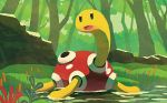 creature full_body gen_2_pokemon hyogonosuke no_humans official_art pokemon pokemon_(creature) pokemon_trading_card_game shell shuckle solo third-party_source