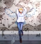 androgynous arms_up bird blonde_hair blue_pants brown_footwear closed_eyes day denim ficklerabbit full_body graffiti highres original outdoors pants solo sweatshirt wall