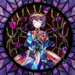 1girl buttons closed_eyes eyeball flower glass hair_ornament hairband heart heart_hair_ornament highres komeiji_satori mis-aesthetics multicolored_hair no_nose parted_lips pink_hair pink_skirt purple_flower purple_hair purple_rose red_eyes rose short_hair skirt solo stained_glass third_eye thorns touhou twitter_username