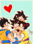 1girl 3boys ;d ^_^ aqua_background black_hair blush border brothers carrying chi-chi_(dragon_ball) china_dress chinese_clothes closed_eyes dougi dragon_ball dragon_ball_z dress earrings family father_and_son fingernails hair_bun hand_on_another's_shoulder hands_on_another's_head happy happy_tears heart jewelry looking_at_another mother_and_son multiple_boys number one_eye_closed open_mouth outline pectorals profile shoulder_carry siblings simple_background smile son_gohan son_gokuu son_goten sora_(happygreencandy) tears teeth upper_body white_border white_outline yellow_dress
