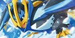 bird bird_focus blue_eyes blue_theme creature empoleon fighting_stance fukuda_masakazu full_body gen_4_pokemon ice legs_apart looking_at_viewer no_humans official_art pokemon pokemon_(creature) pokemon_trading_card_game solo water