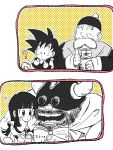 1girl 3boys :/ :d :o ? armor bangs beard black_eyes black_hair black_headwear blunt_bangs blush book chi-chi_(dragon_ball) chinese_clothes commentary_request confused counting cup dougi dragon_ball dragon_ball_(classic) facial_hair father_and_daughter fingernails gloves grandfather_and_grandson grandpa_gohan gyuu_mao hands_on_own_cheeks hands_on_own_face hat helmet hime_cut holding holding_book holding_cup horns monkey_tail multiple_boys mustache old_man open_book open_mouth polka_dot polka_dot_background smile son_gokuu sora_(happygreencandy) sparkle spiky_hair straight_hair tail teeth thick_eyebrows tongue white_background yellow_background