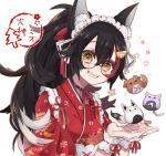 1girl :3 :d animal_ear_fluff animal_ears black_hair bone_print brown_eyes character_name cherry_blossoms commentary_request fang floral_print glasses hololive inugami_korone japanese_clothes long_hair looking_at_viewer maid_headdress multicolored_hair nekomata_okayu onigiri_print ookami_mio open_mouth paw_print pochimoto ponytail redhead shirakami_fubuki simple_background smile solo streaked_hair upper_body virtual_youtuber wa_maid white_background wolf_ears wrist_cuffs