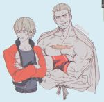 2boys blonde_hair chest_scar crossed_arms fatal_fury father_and_son geese_howard jacket katouka10 mark_of_the_wolves multiple_boys rock_howard scar short_hair upper_body wristband