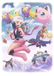 1girl absurdres alternate_color beanie black_legwear blue_hair blush boots border drifloon garchomp gen_1_pokemon gen_4_pokemon hair_ornament hairclip hat highres hikari_(pokemon) holding jigglypuff kneehighs long_hair lopunny magnezone mountain open_mouth outdoors pink_footwear pink_skirt pokemoa pokemon pokemon_(game) pokemon_dppt rotom rotom_(normal) scarf shiny_pokemon skirt sleeveless staravia violet_eyes white_border white_headwear