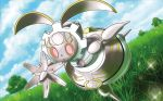 blue_sky clouds cloudy_sky creature day dutch_angle forest fukuda_masakazu full_body gen_7_pokemon grass magearna nature no_humans official_art outdoors pink_eyes pokemon pokemon_(creature) pokemon_trading_card_game sky solo sparkle standing standing_on_one_leg