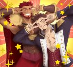 2boys abeberries bangs bara beard blue_eyes blush brown_hair cape chest double_v emotional_engine_-_full_drive epaulettes facial_hair fate/zero fate_(series) hands_up highres leather long_sleeves looking_at_viewer male_focus military multiple_boys muscle napoleon_bonaparte_(fate/grand_order) open_mouth pants parody pectorals red_eyes redhead rider_(fate/zero) scar simple_background smile sparkle star uniform v