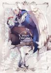 1boy branch copyright_name highres looking_at_viewer male_focus pixiv_fantasia pixiv_fantasia_age_of_starlight pointy_ears ryou_(pixiv779953) scarf sitting solo talons white_hair white_scarf white_wings wings