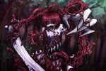 1girl commentary_request extra_mouth forest looking_at_viewer monster_girl nature ray-k red_eyes redhead sharp_teeth short_hair solo teeth