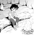 1boy black_hair black_shorts campfire camping depressed djmn_c holding_stick in_tree pokemon pokemon_(anime) pokemon_sm_(anime) satoshi_(pokemon) shoes shorts sitting sitting_in_tree sneakers solo spiky_hair striped striped_shorts tagme tree z-ring