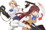 2girls armband bangs black_legwear blonde_girl_(itou) blue_bow blue_eyes blue_skirt blunt_bangs bow breasts brown_eyes brown_hair bullpup catching collared_shirt commentary_request dragunov_svd embers gloves gun hair_bow holding holding_gun holding_weapon itou_(onsoku_tassha) long_hair long_sleeves looking_at_another magazine_(weapon) multiple_girls open_mouth original p90 pantyhose pleated_skirt ponytail red_armband rifle school_uniform shirt short_sleeves sidelocks simple_background skirt smile sniper_rifle straight_hair submachine_gun sweater_vest thigh-highs tossing trigger_discipline v-shaped_eyebrows weapon white_background white_legwear white_shirt