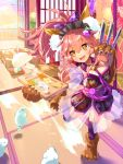 1girl animal_ear_fluff animal_ears apron bell bell_collar between_breasts breasts cat_paws cheese collar commentary commentary_request eyebrows_visible_through_hair fangs fate/grand_order fate_(series) food fox_ears fox_girl fox_tail gloves hair_ornament hair_ribbon hairclip hellnyaa highres indoors japanese_clothes jingle_bell kimono knife large_breasts long_hair looking_at_viewer mountain mountainous_horizon naked_apron necktie necktie_between_breasts open_mouth paw_gloves paw_shoes paws pink_hair ponytail ribbon shoes solo tail tamamo_(fate)_(all) tamamo_cat_(fate) yellow_eyes