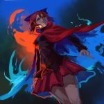 1girl black_shirt blue_bow bow cape dutch_angle evil_smile fire from_below glowing glowing_eyes hair_bow inishie_kumo light_smile long_sleeves looking_at_viewer looking_down parted_lips red_cape red_skirt redhead ringed_eyes sekibanki shirt short_hair skirt smile solo standing touhou untucked_shirt