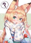 1girl :d ? animal_ear_fluff animal_ears bangs blonde_hair blue_kimono blush breath commentary_request eyebrows_visible_through_hair fang floral_print fox_ears fox_girl fox_shadow_puppet fox_tail green_background green_eyes hair_between_eyes highres japanese_clothes kimono long_hair long_sleeves looking_at_viewer obi open_mouth original print_kimono print_scarf sakura_ani sash scarf smile snowflake_print solo spoken_question_mark tail tail_raised two-tone_background upper_body very_long_hair white_background white_scarf wide_sleeves