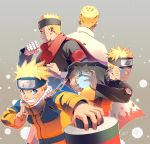 age_progression armband back bandaged_arm bandages blonde_hair blue_hair boruto:_naruto_next_generations cape curamubuono fighting_stance forehead_protector hand_gesture highres jacket konohagakure_symbol multiple_persona naruto naruto:_the_last naruto_(series) naruto_shippuuden rasengan red_scarf scarf scroll serious uzumaki_naruto whisker_markings whiskers