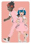 1boy 1girl blue_eyes blue_hair blush dark_skin dark_skinned_male djmn_c hat kaki_(pokemon) multicolored_hair nurse nurse_cap open_mouth pants pink_pants pink_shirt pokemon pokemon_(anime) pokemon_sm_(anime) red_background sandals shirt striped striped_background suiren_(pokemon) sweat upper_teeth