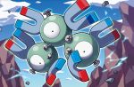 black_eyes blue_sky clouds cloudy_sky creature day electricity floating full_body gen_1_pokemon kirisaki looking_at_viewer magnet magneton no_humans official_art pokemon pokemon_(creature) pokemon_trading_card_game rock screw sky solo