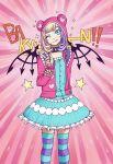 :p ;p animal_hood backpack bag bear_hood blonde_hair blue_dress blue_eyes coco_atarashi collar dress eyebrows_visible_through_hair frilled_dress frilled_skirt frills hair_dye highres hood hoodie jacket nail_polish one_eye_closed pink_background pink_hood pink_hoodie pink_jacket purple_hair sayonararevival skirt smile striped striped_legwear subarashiki_kono_sekai thigh-highs tongue tongue_out wings
