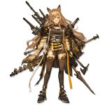 1girl animal_ears ankle_strap arknights axe baggy_clothes bangs boots breasts brown_dress brown_footwear ceobe_(arknights) dog_ears dog_tail dress hair_between_eyes holding holding_weapon jacket large_breasts light_brown_hair lm7_(op-center) long_hair looking_at_viewer multicolored multicolored_clothes multicolored_jacket multiple_straps multiple_swords multiple_weapons official_art open_clothes open_jacket red_eyes shoulder_pads sidelocks snap-fit_buckle solo staff tachi-e tail thigh-highs thigh_boots transparent_background very_long_hair weapon