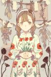 1girl bangs braid brown_eyes brown_hair dress eyebrows_visible_through_hair flower hands_together headband highres long_hair long_sleeves looking_at_viewer original print_dress qooo003 red_flower smile solo twin_braids twintails upper_body white_dress