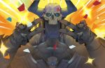 1boy armor black_cloak cloak double_v driedwarek emotional_engine_-_full_drive fate/grand_order fate_(series) gloves glowing glowing_eyes hands_up highres horns king_hassan_(fate/grand_order) long_sleeves looking_at_viewer male_focus open_mouth parody skull skull_mask solo sparkle spikes star v