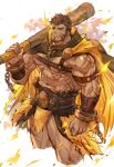 1boy abs bara beard belt brown_hair cape chain chest facial_hair hercules_(tokyo_houkago_summoners) highres looking_at_viewer looking_to_the_side male_focus muscle nikism nipples pectorals scar simple_background smile solo thighs tokyo_houkago_summoners weapon