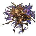 1girl animal_ears ankle_strap arknights axe baggy_clothes bangs boots breasts brown_dress brown_footwear ceobe_(arknights) dog_ears dog_tail dress elite_ii_(arknights) hair_between_eyes highres holding holding_weapon jacket large_breasts light_brown_hair lm7_(op-center) long_hair looking_at_viewer multicolored multicolored_clothes multicolored_jacket multiple_straps multiple_swords multiple_weapons official_art open_clothes open_jacket red_eyes shoulder_pads sidelocks snap-fit_buckle solo staff tachi-e tail thigh-highs thigh_boots transparent_background very_long_hair weapon