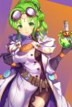 1girl belt black_gloves breasts candy closed_mouth coke-bottle_glasses eyewear_on_head fire_emblem fire_emblem:_the_sacred_stones fire_emblem_heroes flask food glasses gloves green_eyes green_hair halloween_costume holding holding_lollipop jurge l'arachel_(fire_emblem) large_breasts lollipop simple_background smile solo