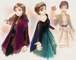 2020 3girls :d anna_(frozen) arm_at_side arms_at_sides autumn_leaves beige_background beige_dress belt black_shirt braid breasts brown_hair cape capelet commentary curly_hair dated dress earrings english_commentary floating_hair freckles frozen_(disney) frozen_ii_(disney) gradient gradient_background green_dress green_eyes grey_background hair_bun happy holding holding_leaf jacket jewelry leaf light_particles light_smile long_hair long_sleeves looking_away medium_breasts multicolored multicolored_background multiple_girls multiple_persona open_clothes open_jacket open_mouth orange_background outstretched_hand purple_background purple_cape shirt signature simple_background sketch smile teeth tiara tied_hair upper_teeth watermark web_address zelda_c_wang