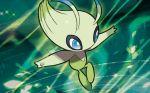 blue_eyes celebi creature flying full_body gen_2_pokemon green_theme mizutani_megumi no_humans official_art pokemon pokemon_(creature) pokemon_trading_card_game solo