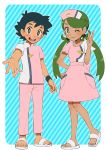black_hair blue_background blush brown_pupils dark_skin djmn_c green_hair green_pubic_hair hand_on_hip hat mao_(pokemon) matching_outfit nurse nurse_cap one_eye_closed open_mouth outstretched_hand pokemon pokemon_(anime) pokemon_sm_(anime) sandals satoshi_(pokemon) smile spiky_hair striped striped_background twintails upper_teeth white_footwear z-ring