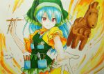 1girl apron beluo77 blue_hair chisel colored_pencil_(medium) dress eyebrows_visible_through_hair frills graphite_(medium) green_apron green_headwear green_hood haniwa_(statue) haniyasushin_keiki head_scarf long_hair magatama magatama_necklace marker_(medium) short_sleeves tools touhou traditional_media wood_carving_tool yellow_dress