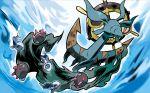anchor blue_eyes creature dhelmise fish frown full_body gen_7_pokemon no_humans official_art pokemon pokemon_(creature) pokemon_trading_card_game pyukumuku tokiya underwater water wishiwashi wishiwashi_(solo)