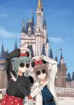 2girls alternate_costume aqua_eyes aqua_hair black_hair black_sweater blue_dress blue_sky castle clouds commentary_request day disneyland dress fubuki_(kantai_collection) green_eyes hair_ornament hairclip highres hood hooded_jacket hoodie jacket kantai_collection long_hair looking_at_viewer minnie_mouse_ears multiple_girls nakano_kiho one_eye_closed outdoors polka_dot polka_dot_dress polka_dot_skirt pose sidelocks sky sunglasses suzuya_(kantai_collection) sweater white_jacket