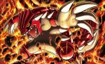claws creature fiery_background fire fukuda_masakazu full_body gen_3_pokemon groudon legendary_pokemon no_humans official_art open_mouth pokemon pokemon_(creature) pokemon_trading_card_game sharp_teeth solo standing teeth yellow_eyes