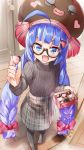 blue_eyes blue_hair bow box_of_chocolates braid brown_headwear brown_sweater chocolate commentary_request daidou_(demitasse) door doorway eel_hat fang glasses hair_bow hair_ornament heart heart-shaped_food heart_hair_ornament highres holding_chocolate indoors long_hair looking_at_viewer one_eye_closed open_mouth otomachi_una pantyhose plaid plaid_skirt red_bow ribbed_sweater semi-rimless_eyewear skirt sweater twin_braids valentine very_long_hair vocaloid wooden_floor