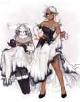 2girls :> absurdres ahoge antennae artist_name bare_shoulders black_sclera boots breasts bridal_veil capelet collarbone commentary dark_elf dark_skin dress elbow_gloves elf english_commentary frown fur-trimmed_boots fur_collar fur_trim gloves gradient_hair hand_on_hip highres insect_girl legs_apart matilda_fiship medium_breasts monster_girl moth_girl mother_lumi multicolored_hair multiple_girls muscle muscular_female needle no_pupils olivia_(fiship) original paws pointy_ears sewing simple_background sitting sparkle torn_clothes torn_dress torn_gloves veil white_eyes white_hair yellow_eyes