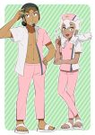 1boy 1girl black_hair burnet_(pokemon) dark_skin dark_skinned_male djmn_c green_background hat holding holding_syringe kukui_(pokemon) long_hair nurse nurse_cap open_clothes open_shirt pants pink_pants pokemon pokemon_(anime) pokemon_sm_(anime) sandals striped striped_background syringe two-tone_shirt white_hair