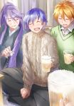3boys ahoge alcohol beer beer_mug blonde_hair blue_hair closed_eyes commentary_request crossed_legs cup daidou_(demitasse) facing_viewer green_sweater grin highres holding holding_cup indian_style japanese_clothes kaito kamui_gakupo long_hair male_focus minase_kou multiple_boys open_mouth ponytail pov pov_hands purple_hair sake sitting smile sweater turtleneck turtleneck_sweater very_long_hair vocaloid voiceroid