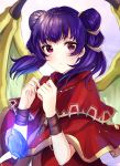 1girl bangs blurry blurry_background blush capelet closed_mouth commentary_request crystal depth_of_field double_bun dragon_wings eyebrows_visible_through_hair fire_emblem fire_emblem:_the_sacred_stones glowing green_wings hands_up highres jacket looking_at_viewer manakete myrrh_(fire_emblem) purple_hair red_capelet red_eyes red_jacket satoimo_chika solo twintails upper_body wings