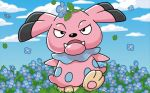 black_eyes blue_sky clouds cloudy_sky creature day dog_focus fangs flower full_body gen_2_pokemon komayama_akira leaf looking_at_viewer no_humans on_head outdoors pokemon pokemon_(creature) pokemon_trading_card_game sky snubbull solo standing wind