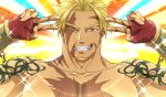 1boy aion_kiu bangs beard beowulf_(fate/grand_order) blonde_hair chest double_v emotional_engine_-_full_drive facial_hair fate/grand_order fate_(series) gloves hands_up long_sleeves looking_at_viewer male_focus muscle open_mouth parody red_eyes scar shirtless smile solo sparkle star tattoo v