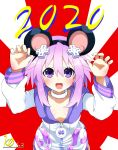 1girl 2020 animal_ears chinese_new_year chinese_zodiac choker d-pad d-pad_hair_ornament hair_between_eyes hair_ornament highres hood hooded_jacket jacket kurozero looking_at_viewer neptune_(neptune_series) neptune_(series) purple_hair rat_ears short_hair solo tongue tongue_out usb violet_eyes white_choker year_of_the_rat