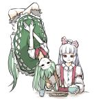 2girls bangs bare_arms black_eyes blank_stare bow bowl brown_eyes buttons closed_mouth crossed_arms cup dress eating empty_eyes ex-keine food fujiwara_no_mokou grabbing green_dress green_hair hair_bow highres holding holding_bowl horn_grab horns kamishirasawa_keine long_hair long_sleeves looking_at_viewer looking_down multiple_girls outstretched_arms peroponesosu. shirt short_sleeves simple_background suspenders touhou upside-down white_background white_hair
