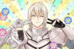 1boy armor bangs bedivere closed_eyes double_v emotional_engine_-_full_drive fate/grand_order fate/stay_night fate_(series) hands_up homekofgo knights_of_the_round_table_(fate) long_hair long_sleeves looking_at_viewer male_focus open_mouth parody ponytail solo sparkle star v