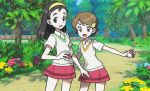 2girls :d black_eyes black_hair breasts brown_eyes brown_hair collared_shirt day flat_chest flower grass hairband height_difference holding holding_poke_ball looking_at_viewer medium_hair miniskirt mizutani_megumi multiple_girls official_art open_mouth outdoors poke_ball poke_ball_(generic) pokemon pokemon_(game) pokemon_oras pokemon_trading_card_game shirt short_hair short_sleeves skirt small_breasts smile teammates_(pokemon) tree white_shirt