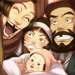 1girl 2boys :d baby beard black_eyes black_hair brown_eyes clenched_hand closed_eyes facial_hair ficklerabbit frown gin_(tokyo_godfathers) grin hana_(tokyo_godfathers) kiyoko_(tokyo_godfathers) looking_at_viewer missing_tooth miyuki_(tokyo_godfathers) multiple_boys open_mouth short_hair smile tokyo_godfathers